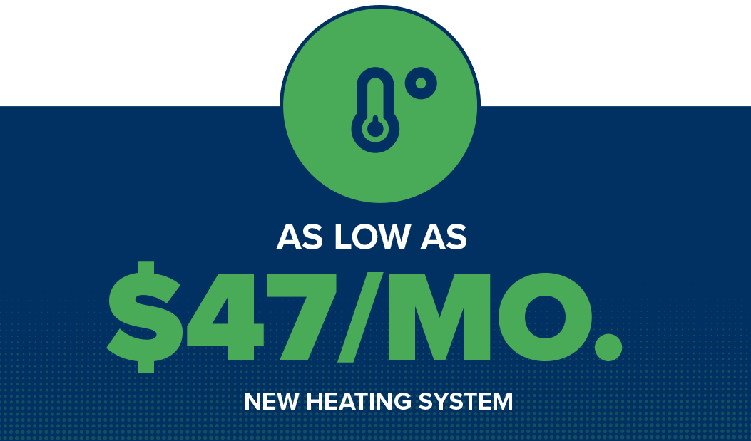 new heating system as low as $47 per month